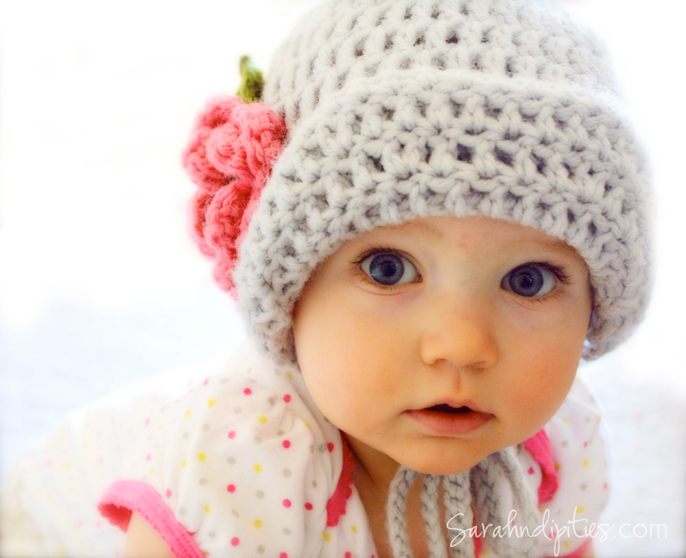 Crochet Flower For Hat : Crochet Baby Bonnet Hat - Flapper Hat with Flower - You Choose Color ...