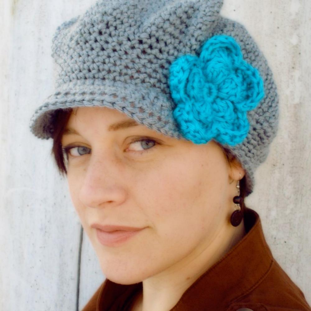 Womens Crochet Newsboy Hat With Flower Crochet Newsie Hat Hats
