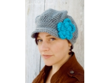 Women's Crochet Newsboy Hat with Flower - Crochet Newsie Hat - Hats with Brims -