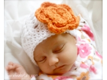 Baby Shell Beanie with Flower