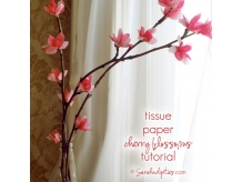 Tissue Paper Cherry Blossoms Tutorial
