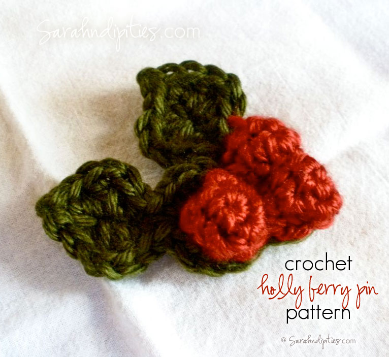 73e349478 Things to Make  Crochet Holly Berry Pin - Free Pattern!